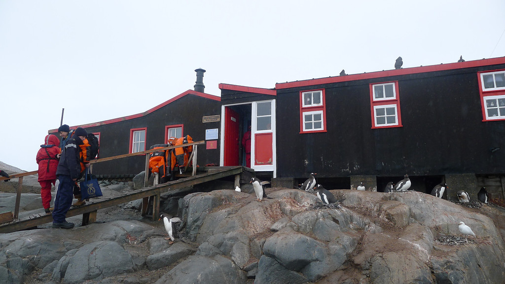 """Historic British Base A, Port Lockroy on Goudier Island. Also a functioning UK Post Office for visitors, fun to send postcards from there, to see when they will arrive!<br /> <br />  <a href=""""http://www.ats.aq/siteguidelines/documents/Goudier_e.pdf"""">http://www.ats.aq/siteguidelines/documents/Goudier_e.pdf</a>"""