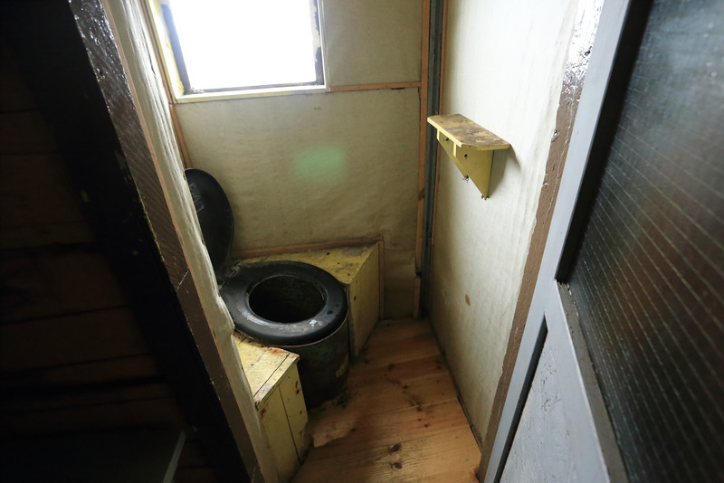 British Wordie House,Winter Island. 65˚15'S, 64˚16'W Located in the Argentine Islands.  Est 1935-Closed in 1954.   This looks like a cold experience, but not so different I guess from the cold UK home Loos of the time frame.  Inside the hut. The base was closed in May 1954.