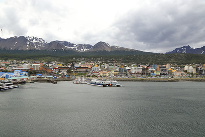 Ushuaia, as the Sergery Vavilov backs away from the dock.