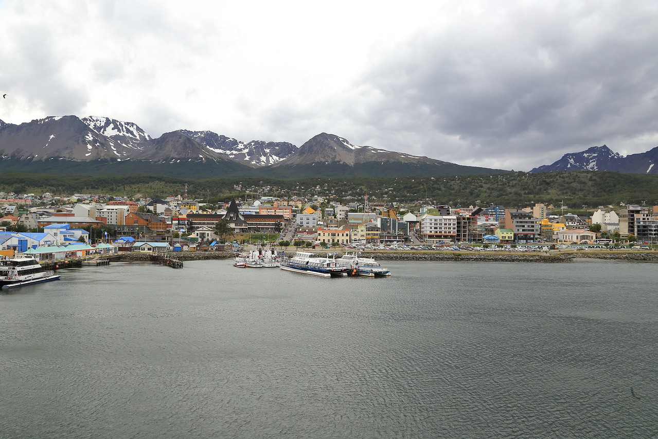 Ushuaia, as the Sergery Vavilov backs away from the dock.
