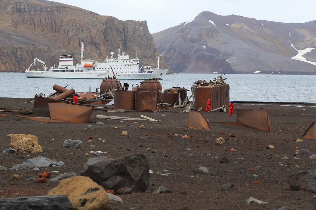 "Deception Island, view from Whalers Bay landing site with the entrance into the bay, Neptunes<br /> Bellows, seen beyond the Vavilov.<br /> <br />  <a href=""http://www.ats.aq/siteguidelines/documents/Whalers_bay_e.pdf"">http://www.ats.aq/siteguidelines/documents/Whalers_bay_e.pdf</a>"