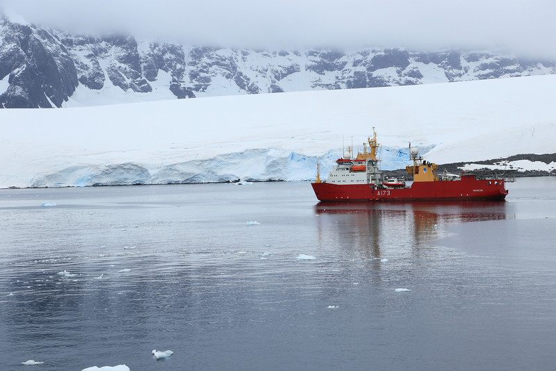 Royal Navy research ship HMS Protector, near Port Lockroy.