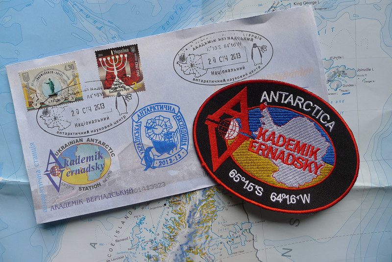 Letter and Station Patch ffrom Akademik Vernadsky Station, Galindez Island 65 15S, 64 16W, took about 9 weeks to arrive, fun to look forward to long after you return home.