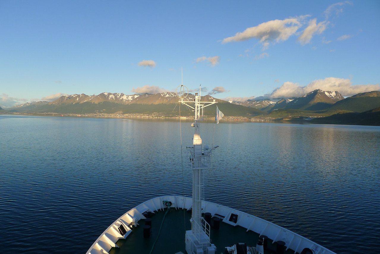 Beagle Channel approaching Ushuaia in the distance, a lovely morning!
