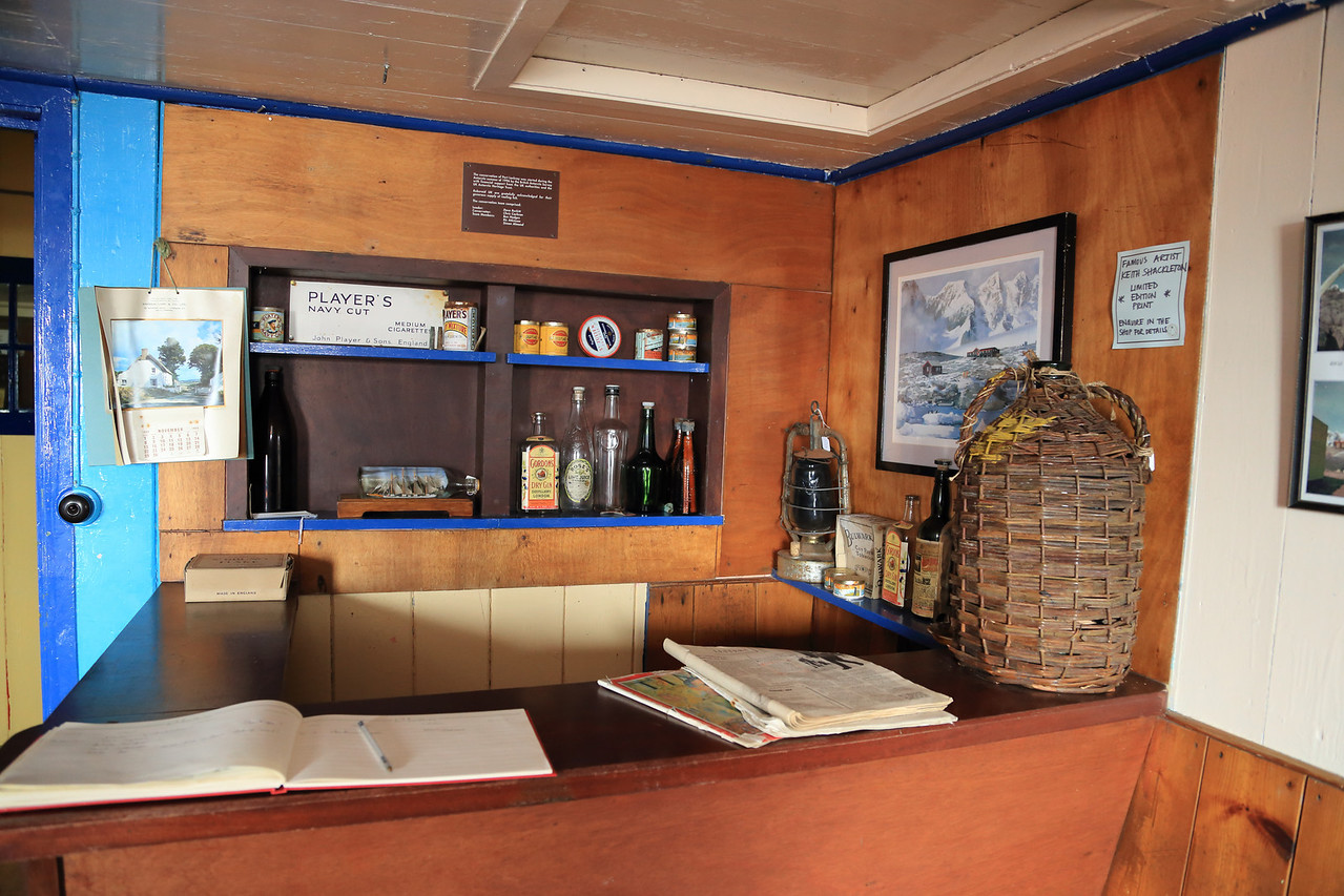 Old bar, inside the main buildings British Base A, Port Lockroy on Goudier Island. .  Also sign in book for visitors.