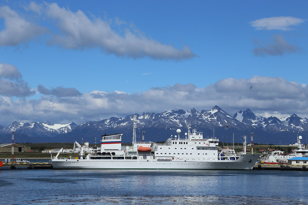 Ushuaia; the Sergey Vavilov docked, ready for our South of the Antarctic Circle trip.