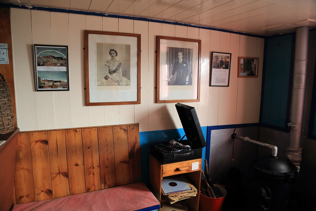 Historic British Base A, Port Lockroy on Goudier Island. <br /> <br /> Music room, inside the main buildings British Base A, Port Lockroy on Goudier Island. With a old record playing it's a wonderful place to write your postcards, inside the main buildings. If only a G&T was severed, that would complete the experience.