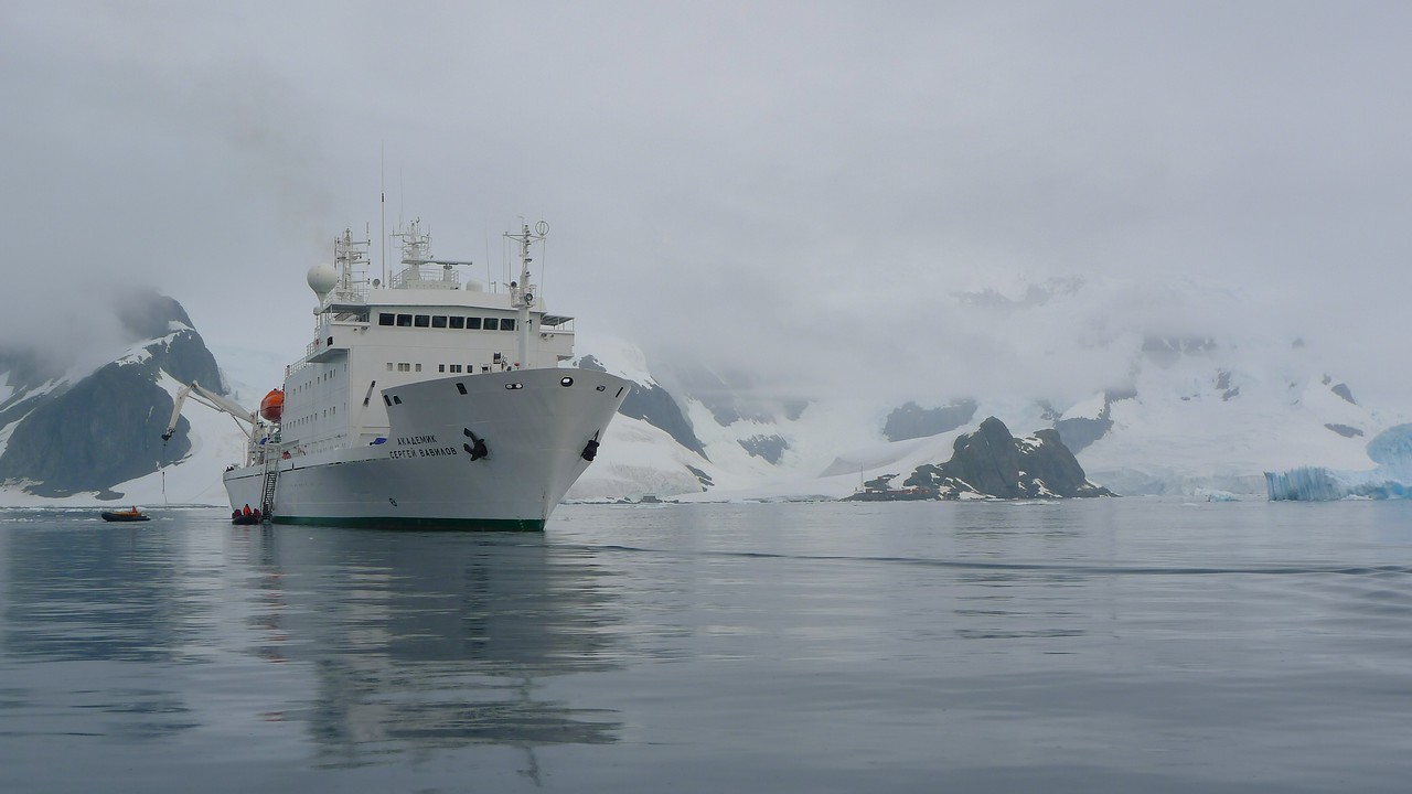 Paradise Harbour view to  Almirante Brown Argentine Antarctic Base on the Antarctic Mainland.