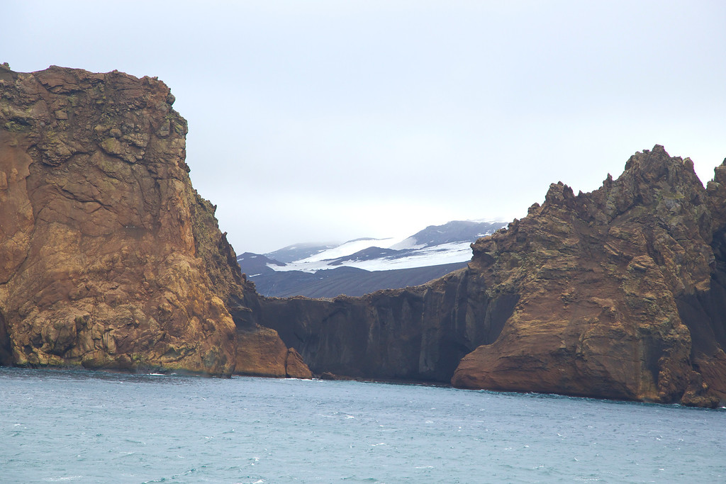Deception Island, view of Neptune's Window while approaching the Island.