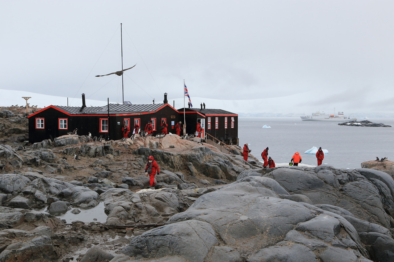 Historic British Base A, Port Lockroy on Goudier Island. Also a functioning UK Post Office for visitors, fun to send postcards from there, to see when they will arrive!  Sergey Vavilov in the background.