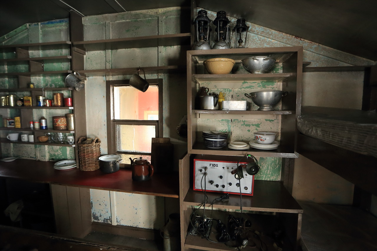 British Wordie House,Winter Island. 65˚15'S, 64˚16'W Located in the Argentine Islands.  Est 1935-Closed in 1954.  Inside the hut.