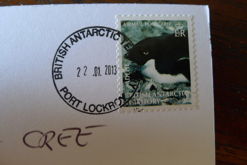 Historic British Base A, Port Lockroy on Goudier Island.  The Stamp.