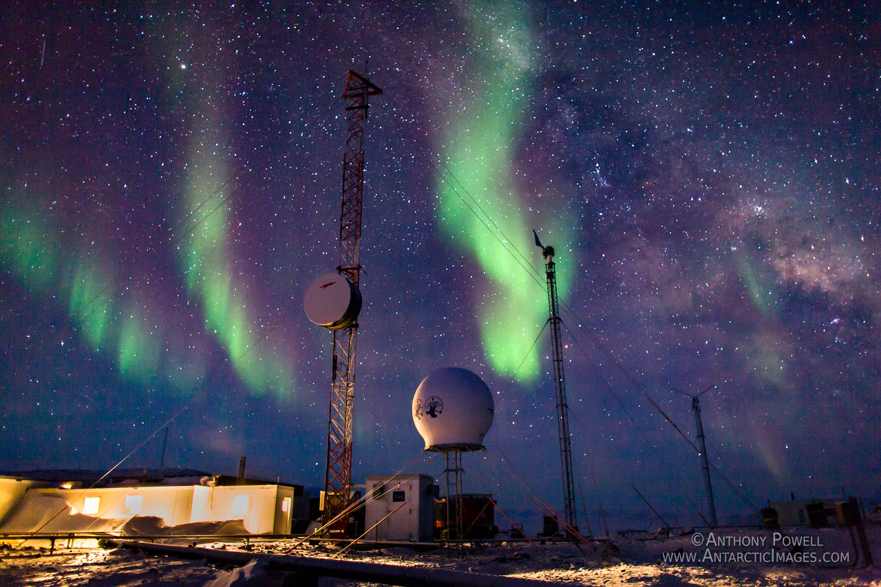 Aurora at the Black Island Satellite Station