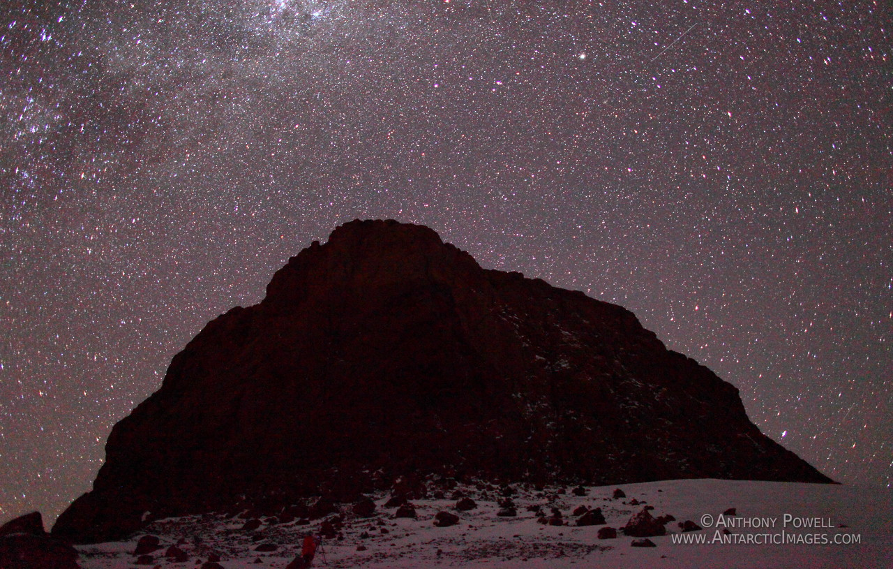 The stars above Castle Rock in winter.