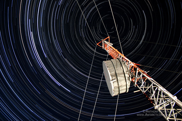 Stacked time-lapse images to show how the stars move in an overhead circle at the Poles.