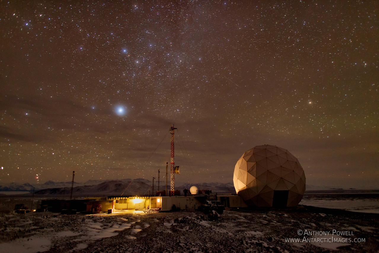 Black Island Satellite Station. Long exposure shot during the Antarctic winter.