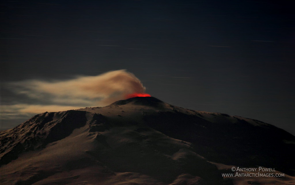 Mount Erebus at night, the world's southernmost active volcano.