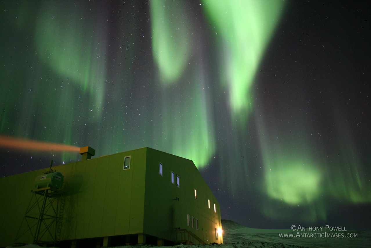 Aurora over the Hillary Field Center at Scott Base Antarctica.