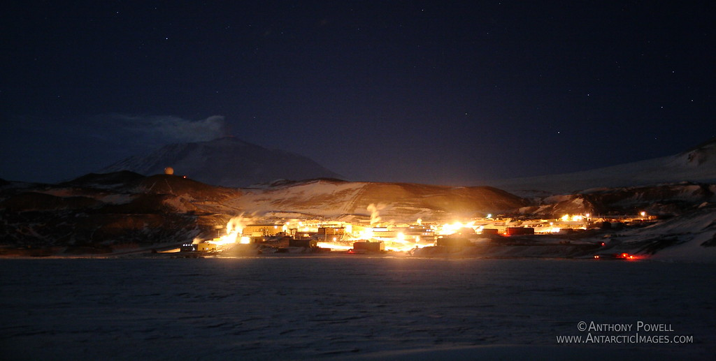 McMurdo Station and Mount Erebus in winter.