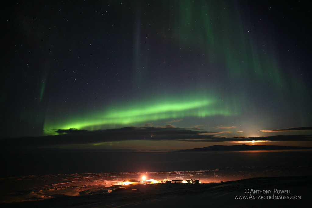 Aurora Over Scott Base Antarctica. The Moon is rising over White Island to the South East.