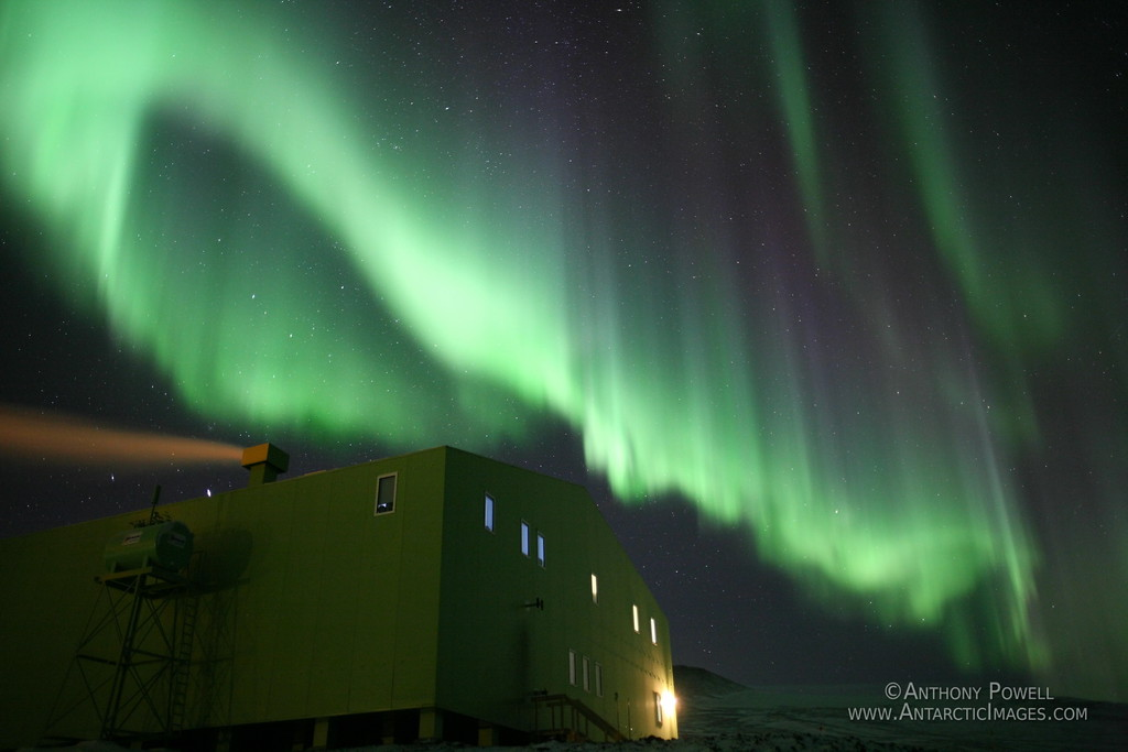 Aurora Australis over the Hillary Field Center at Scott Base, Antarctica