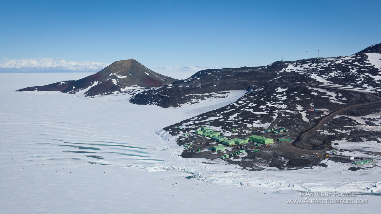 Scott Base with Observation Hill behind to the left. McMurdo Station is just over the hill on the right.