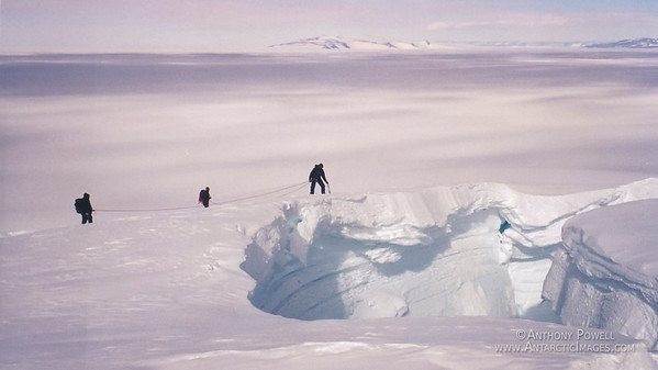 Survival training, looking down an open top crevasse. Crevasses are probably the biggest danger in Antarctica, since many of them are covered and cannot be seen from the surface, so it is easy to fall down one.