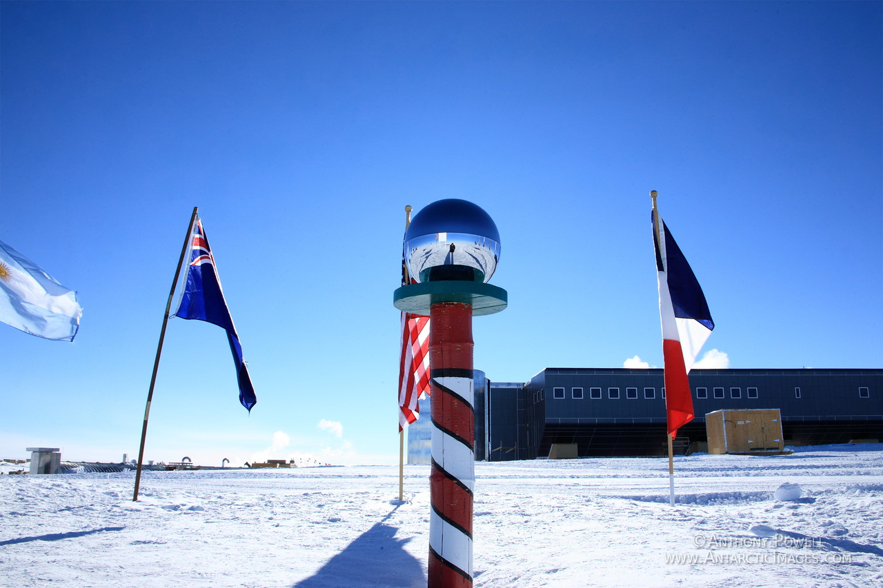 The ceremonial South Pole marker