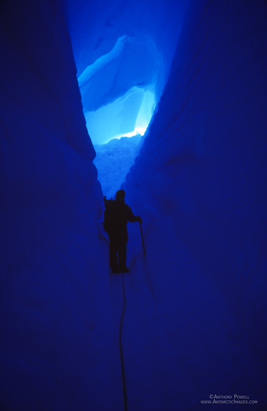 Deep inside a crevasse on the side of Mount Erebus.