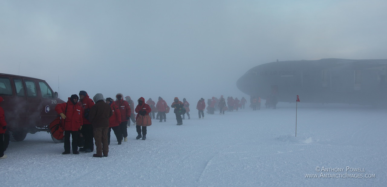 Passengers arriving into -45 degree temperatures from the first C-17 transport plane after winter.