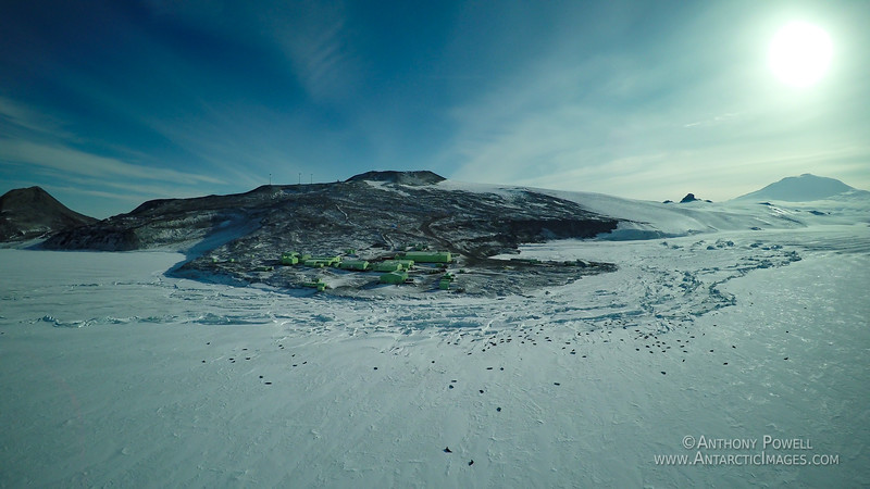 Scott Base in late summer, with hundreds of weddell seals that use the deteriorating pressure ridges to get holes to access the sea beneath.