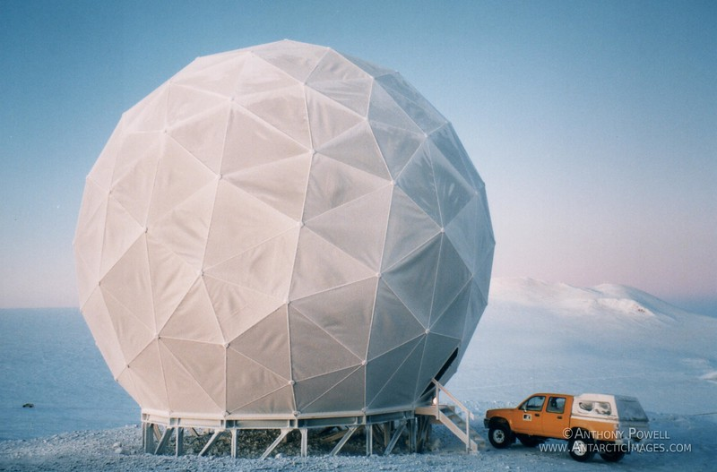 Geodesic dome that houses the Scott Base satellite communication dish.
