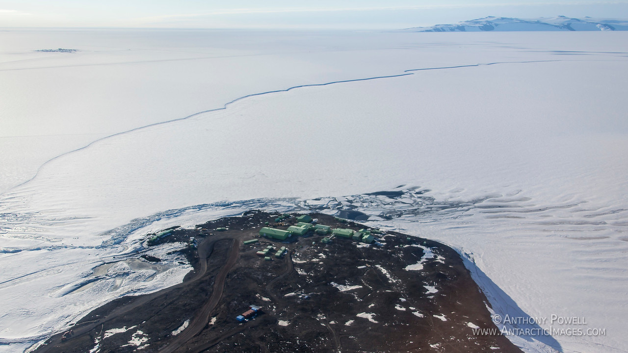Looking down on Scott Base, the area where the Ross Ice Shelf joins the sea ice can be clearly seen in the background.