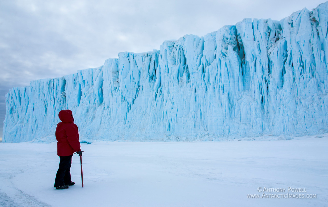 Looking up at the Barne Glacier, standing on the frozen ocean.