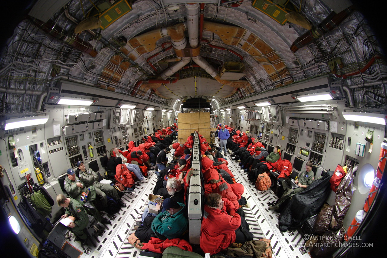 Inside a C-17 transport plane on the way to Antarctica from Christchurch, New Zealand.