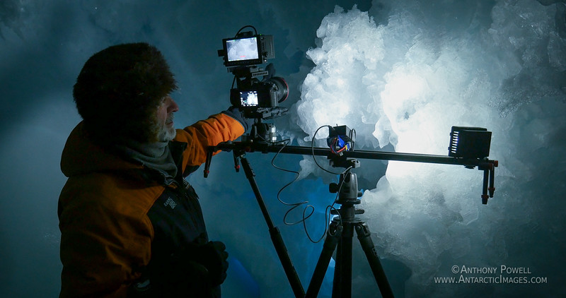 Filming ice crystal growths inside ice caves in the Erebus Ice Tongue Glacier.