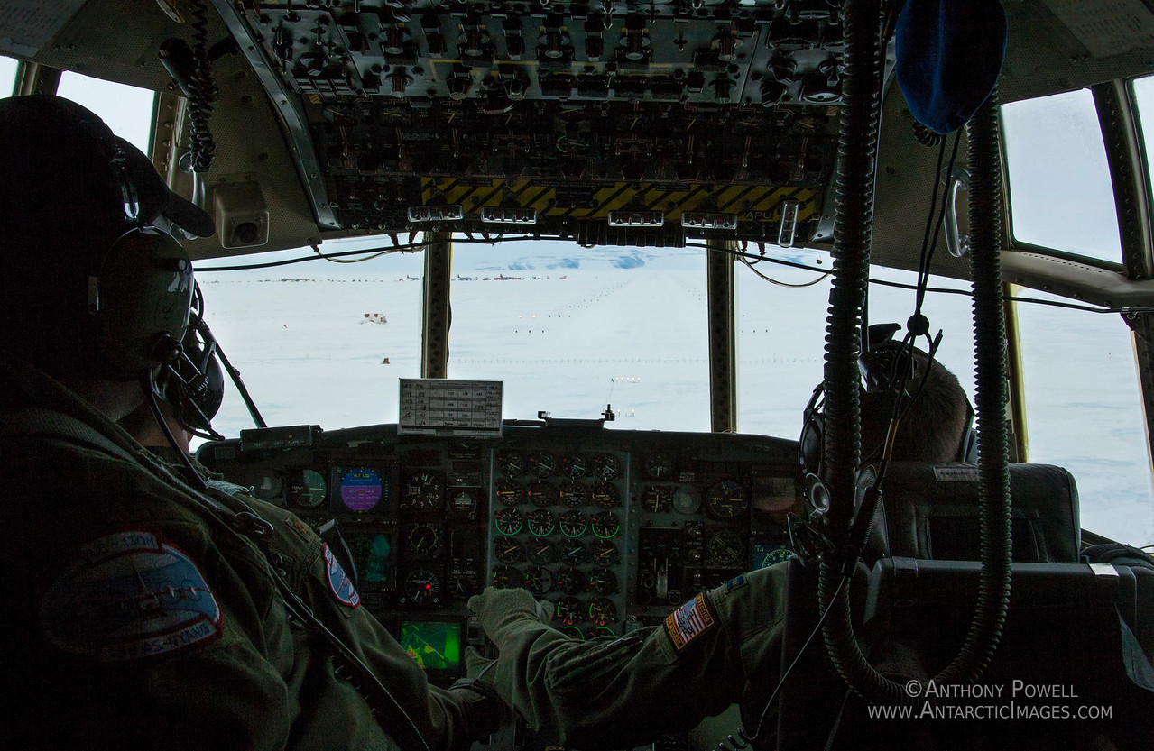 View from the cockpit of an LC-130 Hercules about to land on the Ice Runway at McMurdo