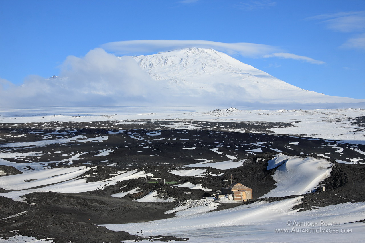 Shackleton's hut at Cape Royds with Mount Erebus in the background