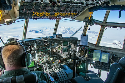Flight deck of an LC-130 Hercules making a supply run to the South Pole from McMurdo Station.
