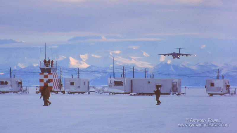 C5 Galaxy coming in to land on the sea ice runway in front of McMurdo Station in October 1998.
