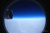 View of the Ross Ice Shelf from the window of a C-17 transport plane.