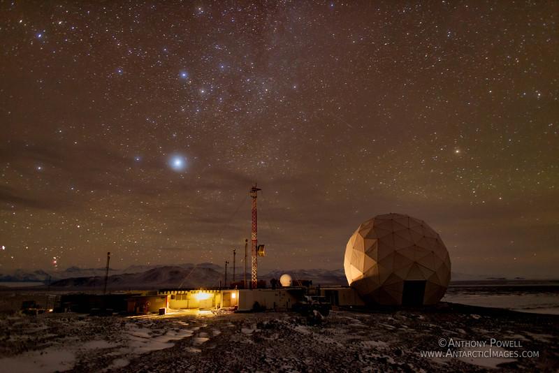 Black Island Satellite Station. Long exposure shot during the Antarctic winter.