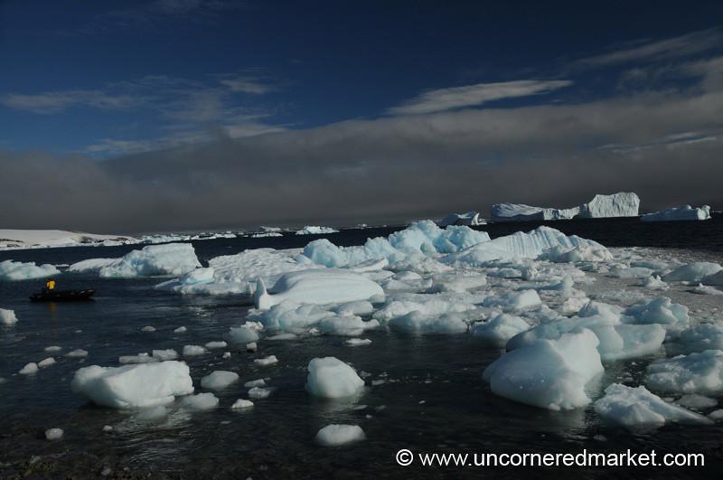 Small Zodiac Amidst the Icebergs - Antarctica