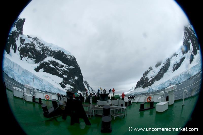 Fisheye View of Deck through Lamaire Channel - Antarctica