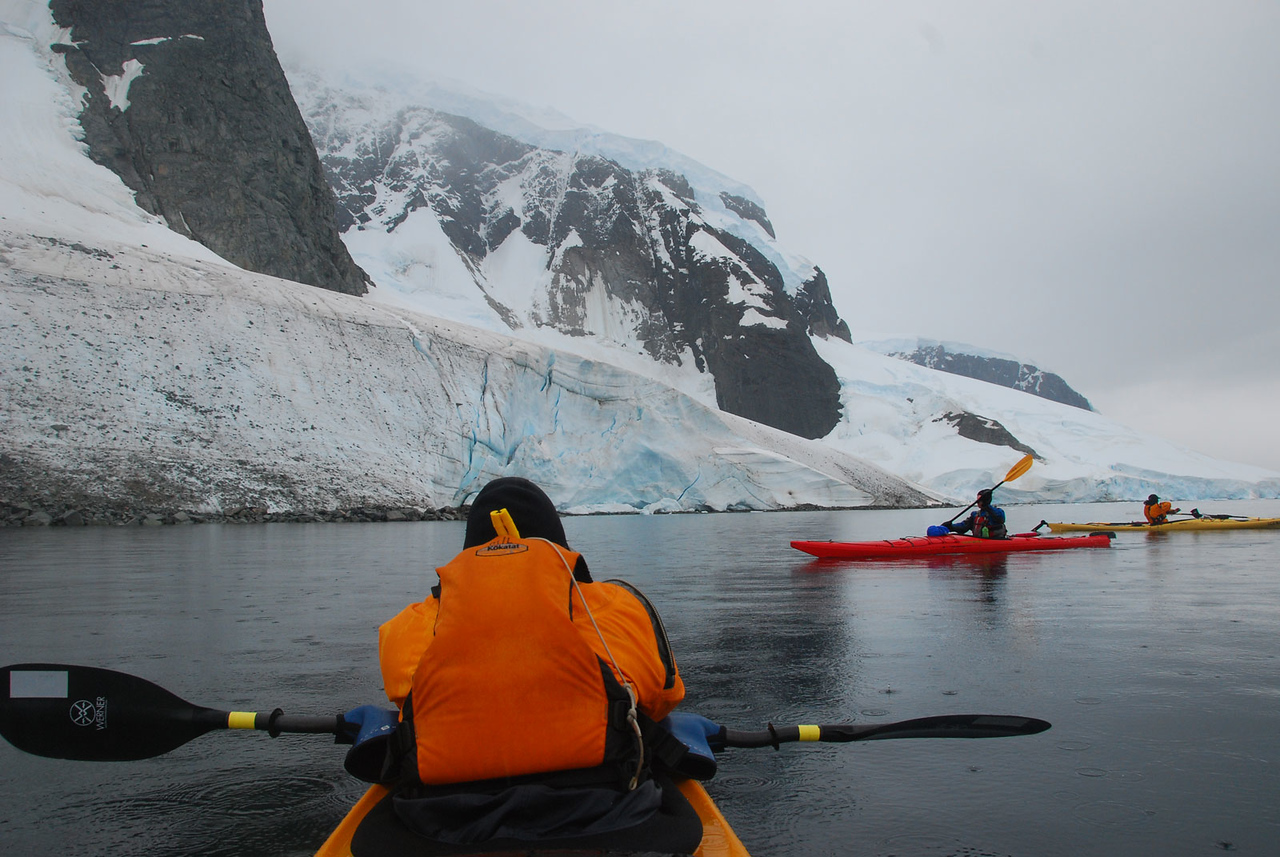 Here we are starting to paddle south along Errera Channel.  It was a cold day with alternating drizzle, rain, and sleet.