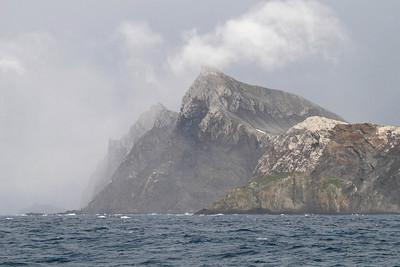 Bird Island, South Georgia: The fog is lifting as we sail by Bird Island.