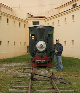 Ushuaia, Argentina: When Ushuaia was a penal colony, prisoners were transported with small-gauge trains into the forests of Tierra del Fuego to cut down trees for firewood.  The train is now converted into a tourist attraction that operates near Parque Nacional Tierra del Fuego.  This engine and car are on exhibit in one of the courtyards at Museo Maritimo.