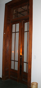 The ambiance of the apartment building is evident in the architectural elements that were retained during the renovation.  This is the door to our room.