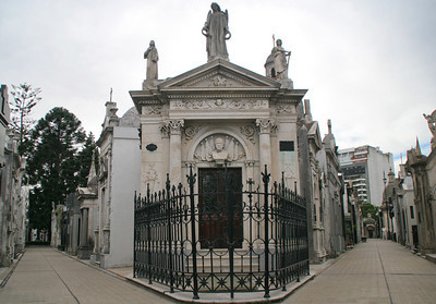 Recoleta Cemetery is laid out in a maze of narrow streets lined with mausoleums.