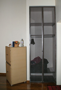 The closet is made of heavy-mesh; very modern.